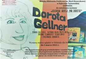 """Plakat promujący wystawę i zajęcia online """"Kolorowe wiersze Pani Dorotki"""", zawiera treść zaproszenia oraz dane kontaktowe."""