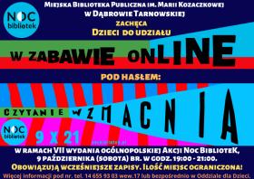 Plakat promujący zajęcia online w ramach Nocy Bibliotek 2021
