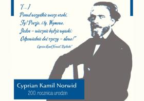Plakat z grafiką Cypriana kamila Norwida